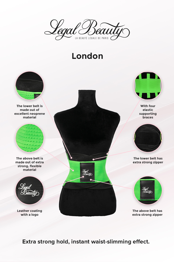 London - Sports Belt with Extra Waistband - Neon green - XXL