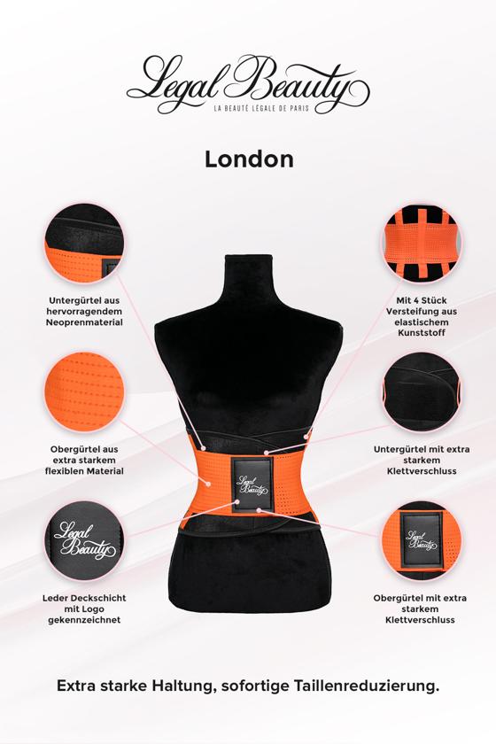 London - Waist Trainer Sportgürtel mit extra Taillengürtel - Neon Orange - S