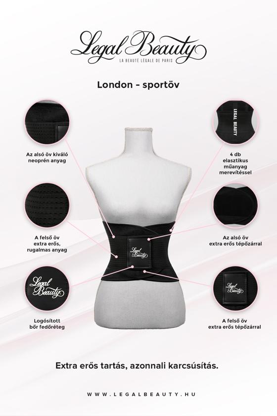London - Sportöv extra derékpánttal - Éjfekete - L