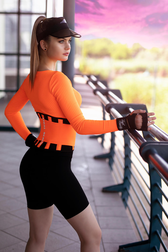 London - Waist Trainer Sportgürtel mit extra Taillengürtel - Neon Orange - S