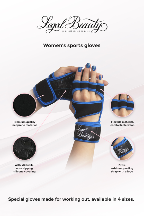 Women's sports gloves - Sports Gloves - Sky blue - L