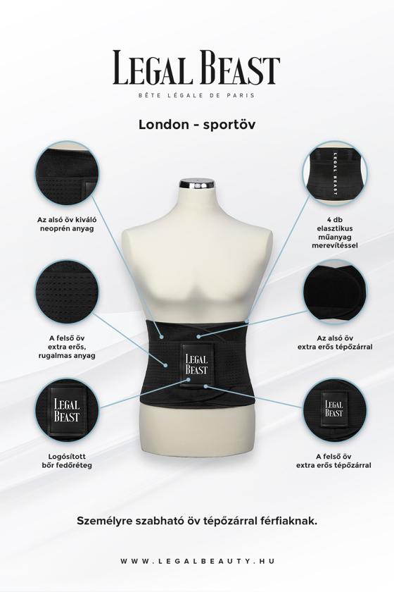 Legal Beast FÉRFI London - Sportöv extra derékpánttal - Fantomfekete - S