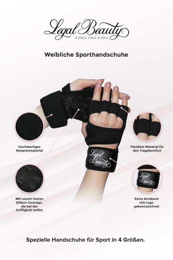 Weibliche Sporthandschuhe - Sporthandschuhe - Tiefschwarz - S