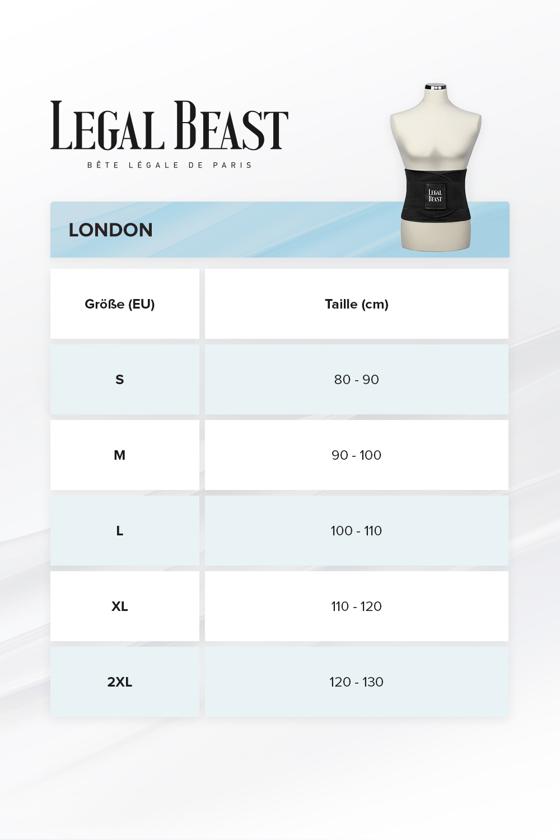 Legal Beast Men London - Waist Trainer Sportgürtel mit extra Taillengürtel - Phantom schwarz - M