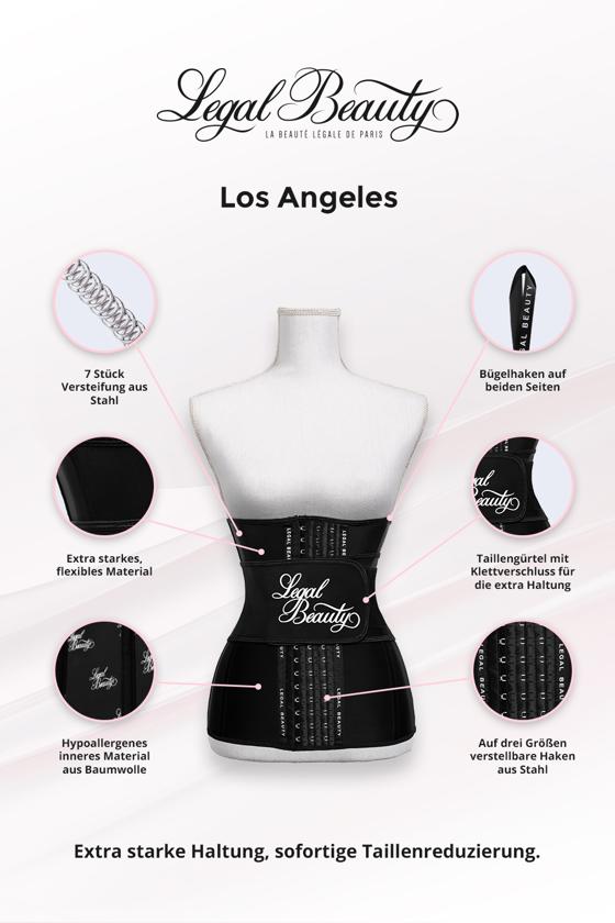 Los Angeles verlängert - Shapewear Waist Trainer Korsett mit Taillengürtel - Tiefschwarz - XXS