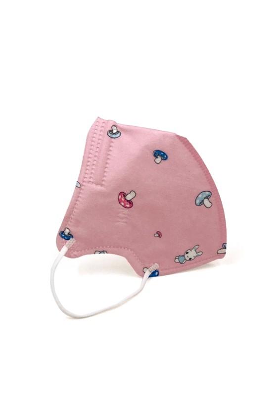 FFP2 (N95/KN95) 5 rétegű gyerekmaszk - FFP2 gyerekmaszk - 2 db - Pink mintás - Szelep nélküli