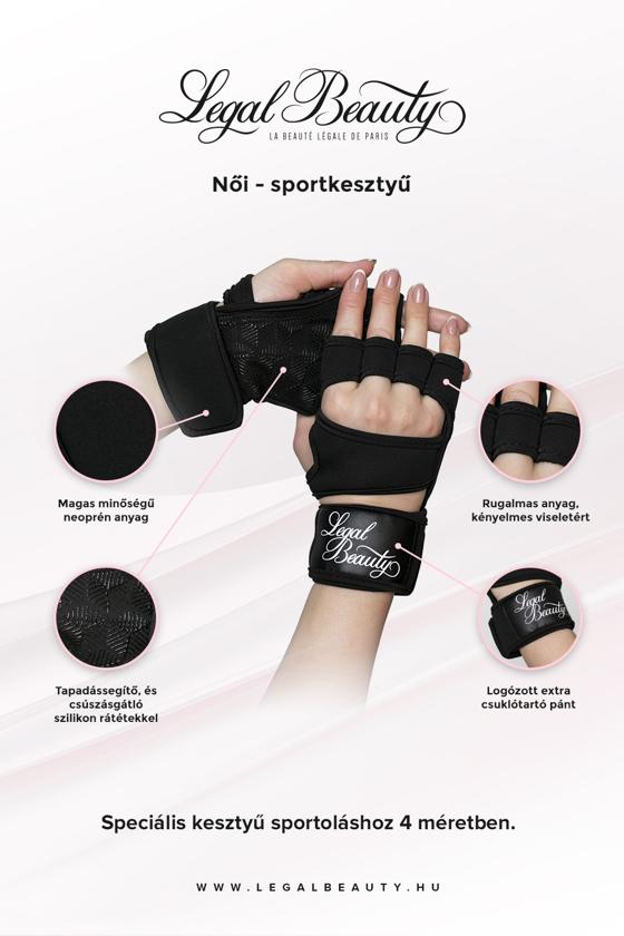 Női sportkesztyű - Sportkesztyű - Éjfekete - S