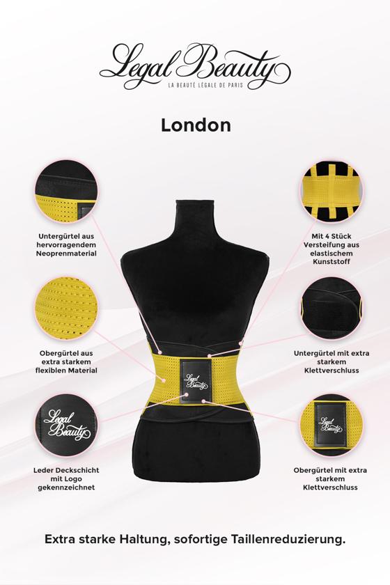 London - Waist Trainer Sportgürtel mit extra Taillengürtel - Sonnengelb - L