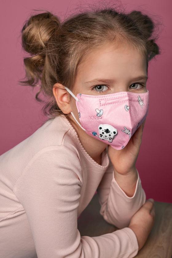 FFP2 (N95/KN95) 5 rétegű gyerekmaszk - Pink mintás - Szelepes - 2 db - 5 rétegű