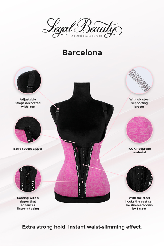 Barcelona - Zipper Neoprene Waist Trainer Vest - Bubblegum pink - XXS