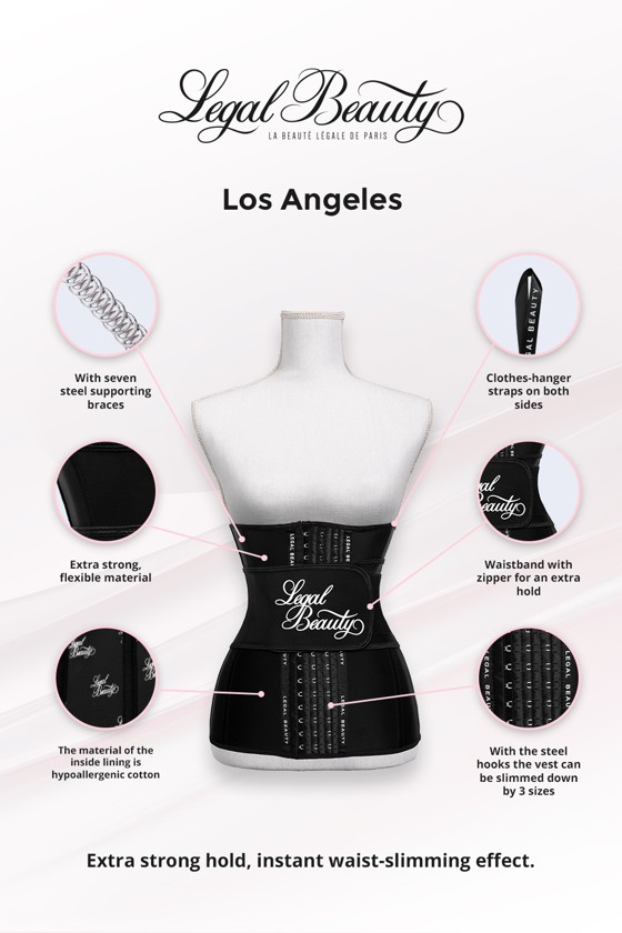 Los Angeles long torso - Waist Trainer with Waistband - Jet black - XXL