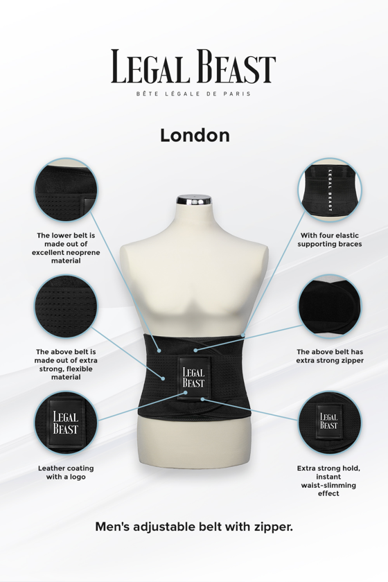 Legal Beast Men London - Sports Belt with Extra Waistband - Phantom black - M