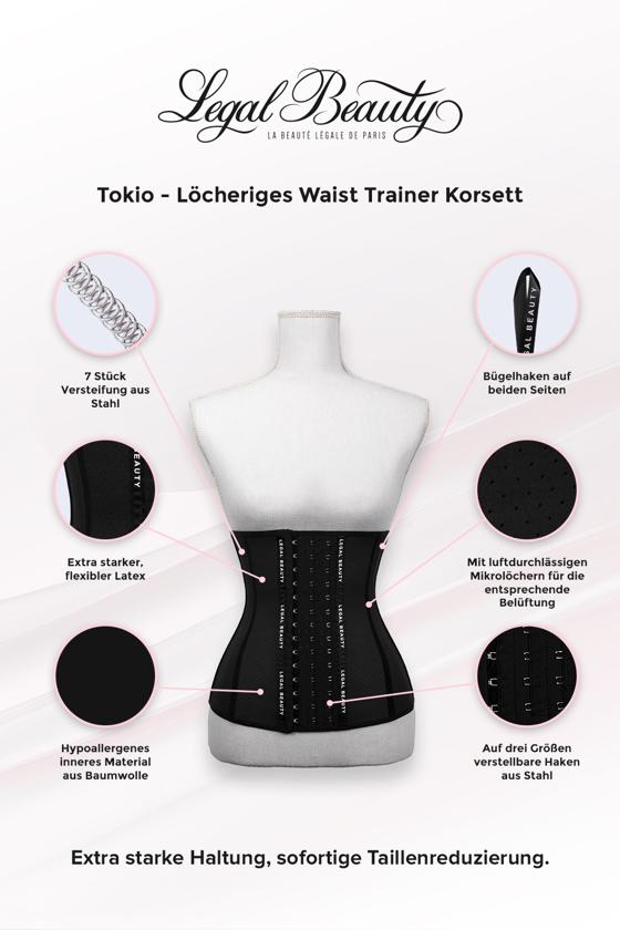 Tokyo - Shapewear Löcheriges Korsett - Tiefschwarz - XXS