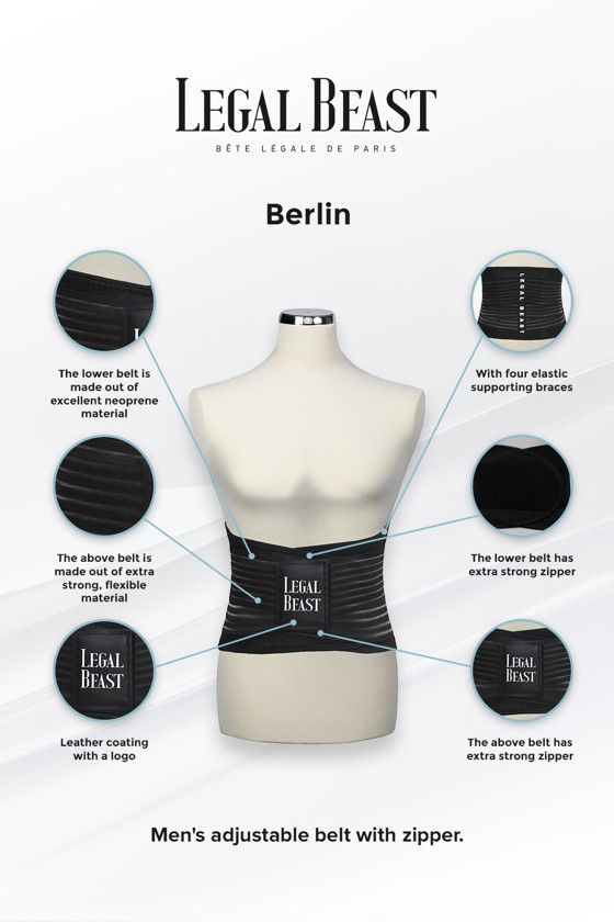 Legal Beast Men Berlin - Sports Belt with Extra Waistband - Phantom black - S