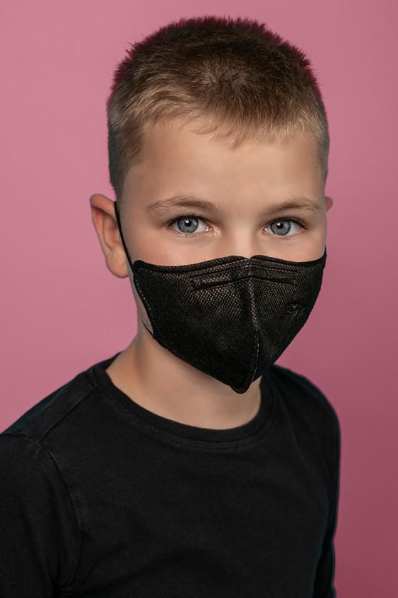 FFP2 (N95/KN95) 5 rétegű gyerekmaszk - FFP2 gyerekmaszk - 2 db - Fekete - Szelep nélküli