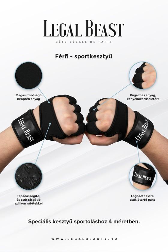 Legal Beast FÉRFI sportkesztyű - Sportkesztyű - Fantomfekete - L