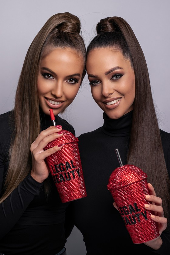 Hollywood - Double-walled straw plastic cup - Red / black - 480 ml