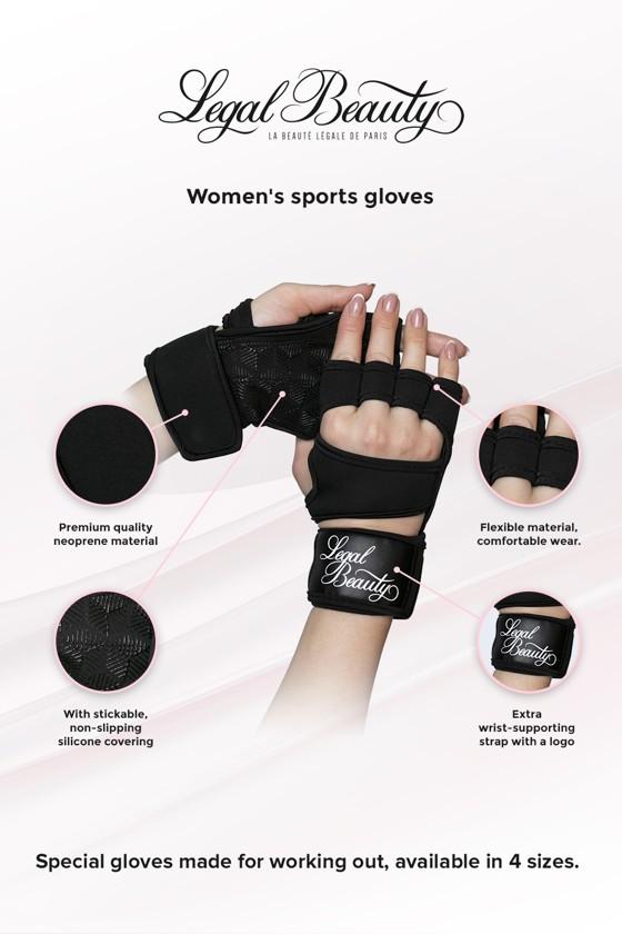 Women's sports gloves - Sports Gloves - Jet black - S