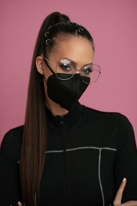 Jiada FFP2 CE 0370 szelep nélküli fekete maszk - 10 db