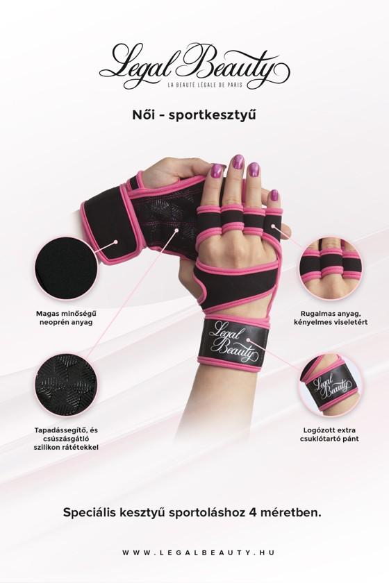 Női sportkesztyű - Sportkesztyű - Neon rózsaszín - S